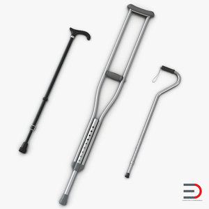 canes crutches 3d model