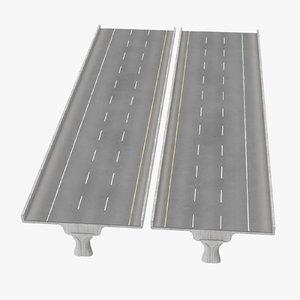 3 lane raised highway c4d