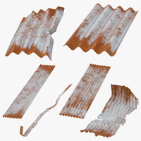 corrugated metal sheets 3d model