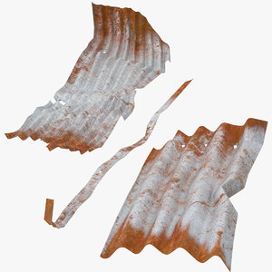 3d model corrugated metal sheets bent