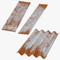 c4d corrugated metal sheets rusted