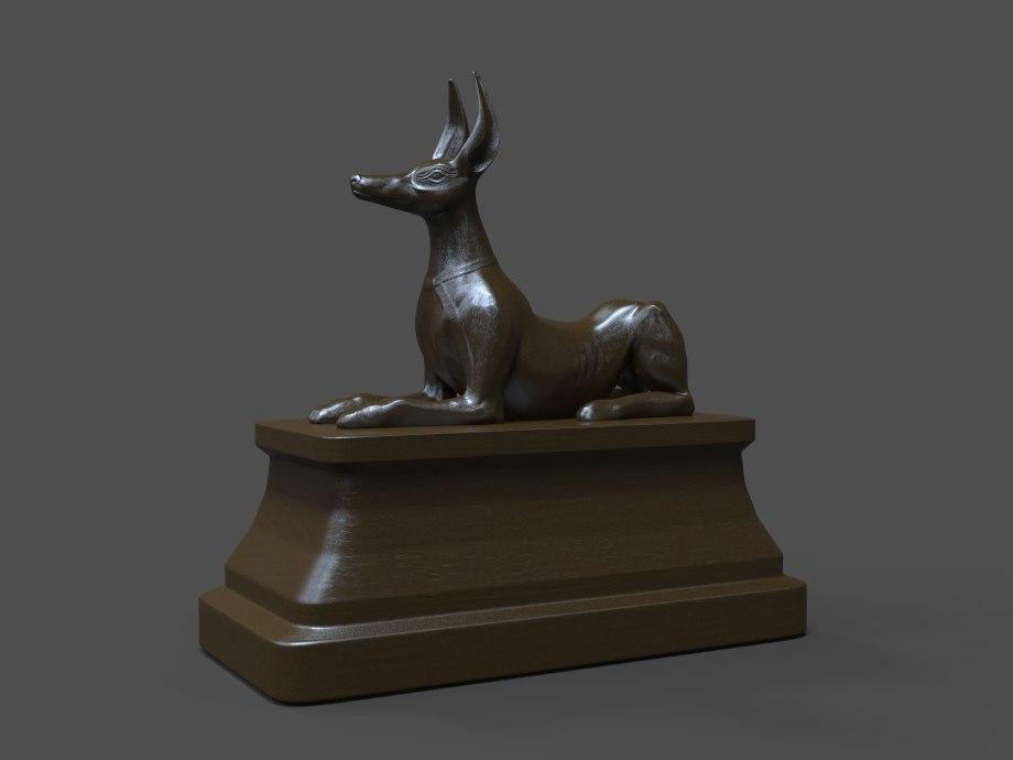 anubis statue 3d obj