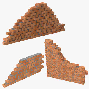 3 brick wall sections 3d c4d