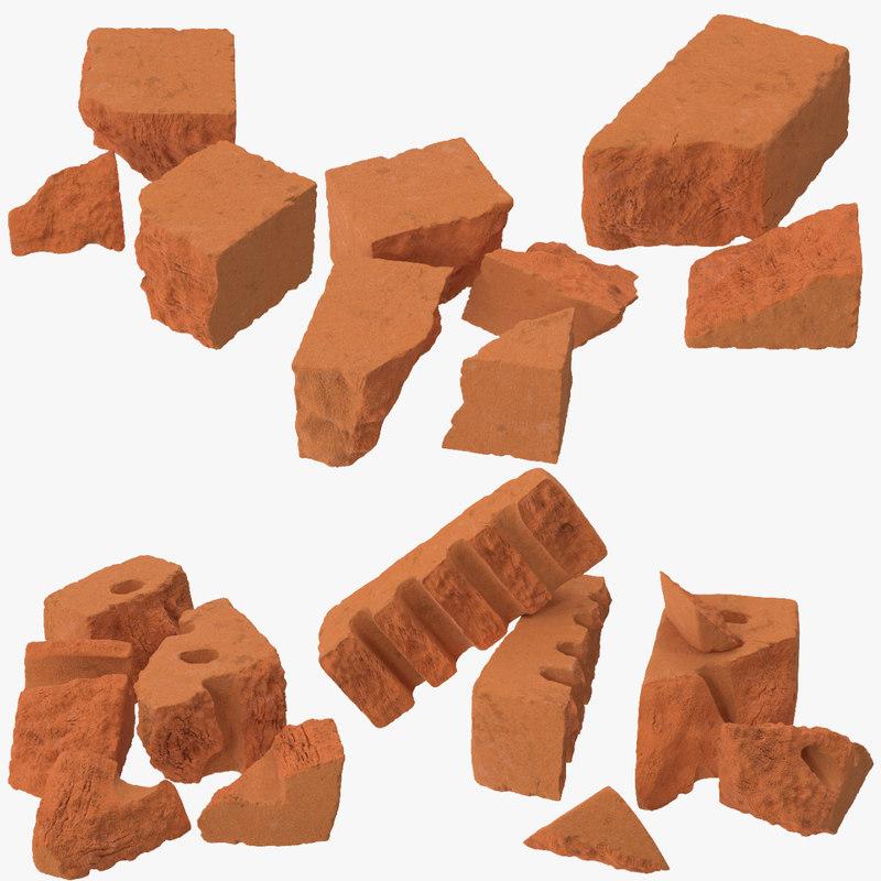 6 broken bricks 3d max