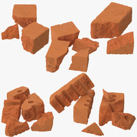 6 broken bricks 3d max
