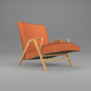 old style armchair orange obj