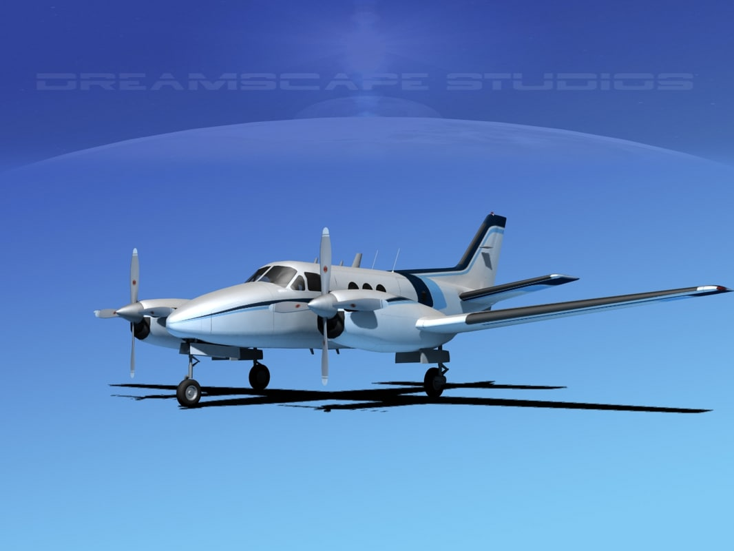 3d model of beechcraft e-90 king air
