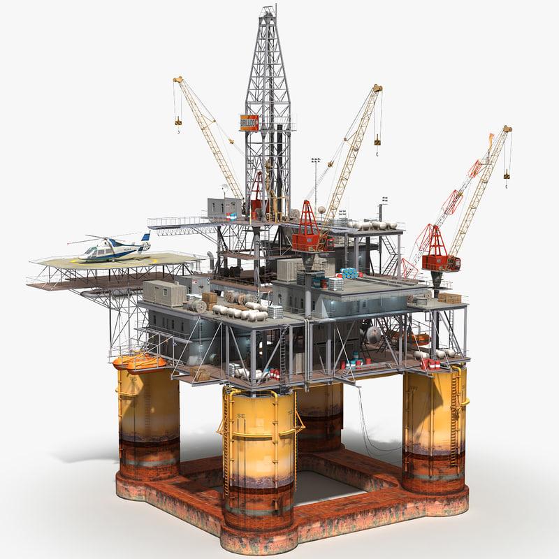 oil rig 3d max