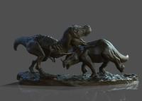 dinosaur statue 3d obj