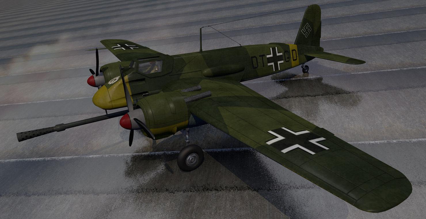 henschel hs-129b-3 3d 3ds
