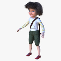 3d model cartoon boy character pbr