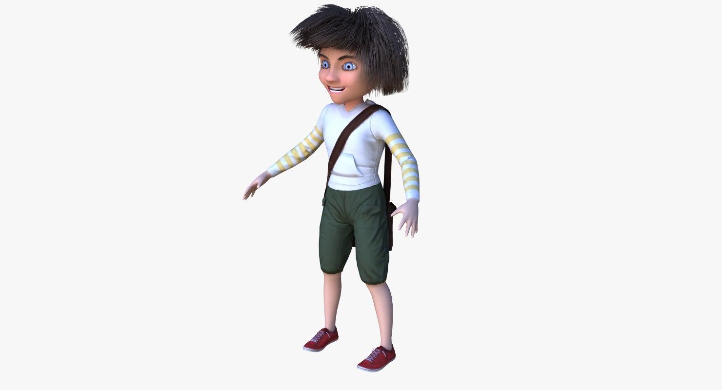 3d model cartoon boy character pbr