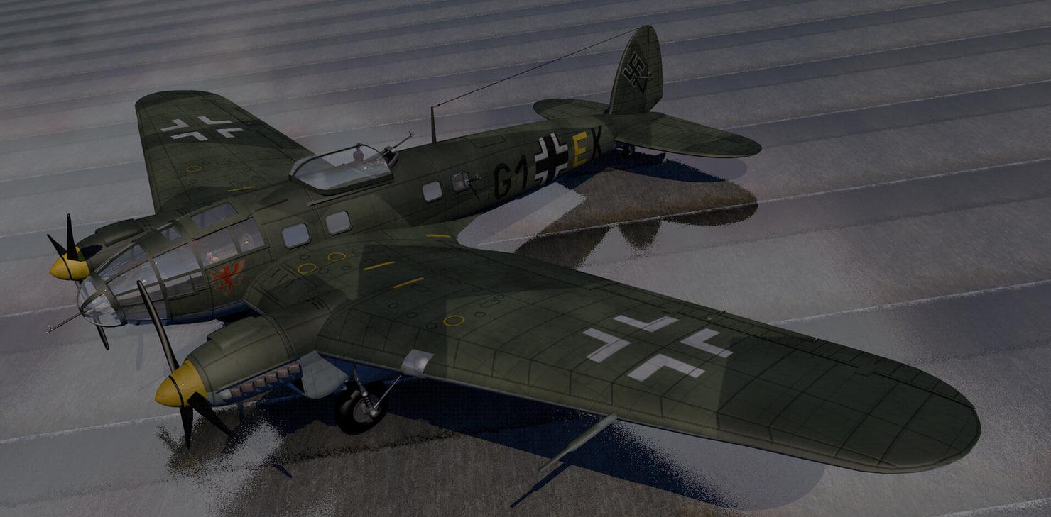3d heinkel he-111h-3 bomber model