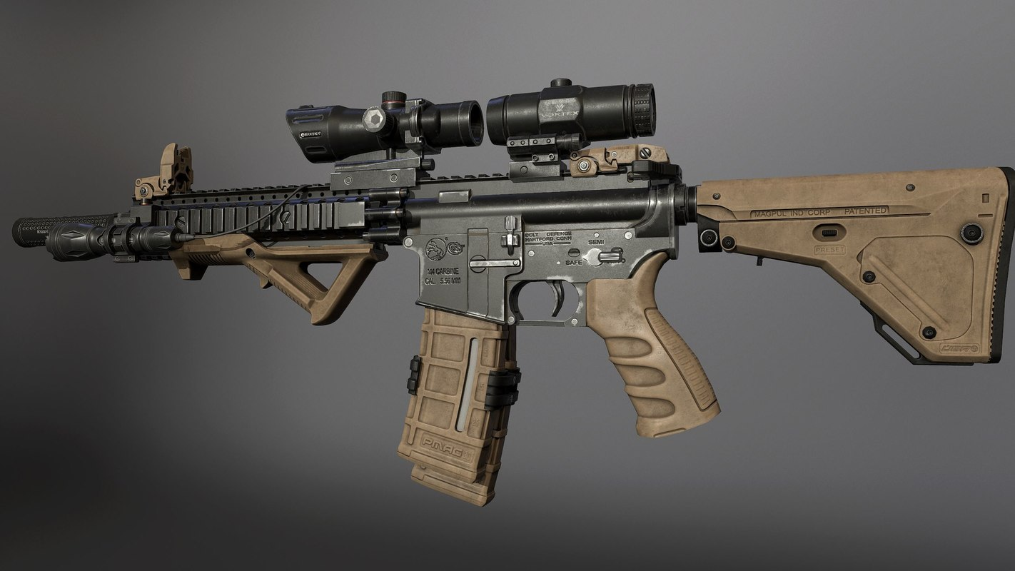 3d model m4 pbr carbine