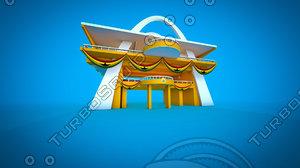 independence arch ghana 3d c4d