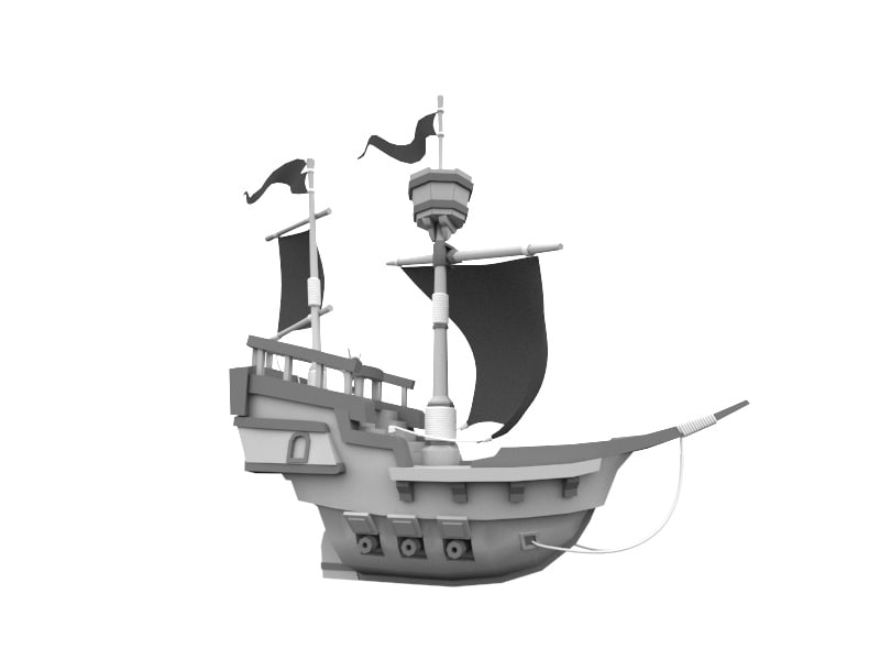 x cartoon pirate ship