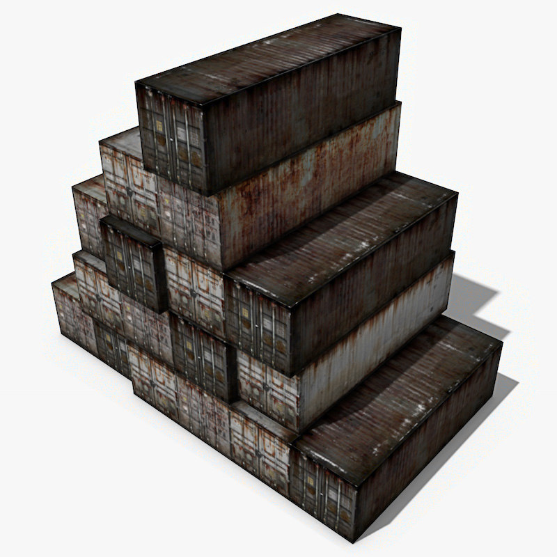 old cargo containers 3d model