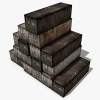 3d model old cargo containers