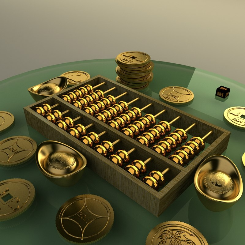 chinese gold abacus ingot 3d max