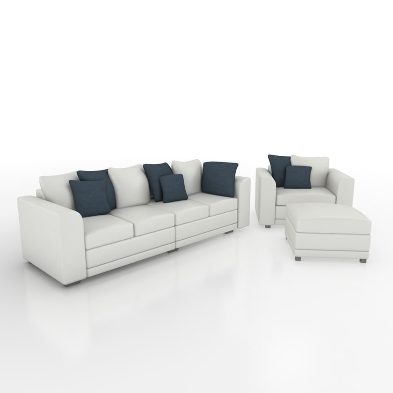 sofa armchair set 3d 3ds