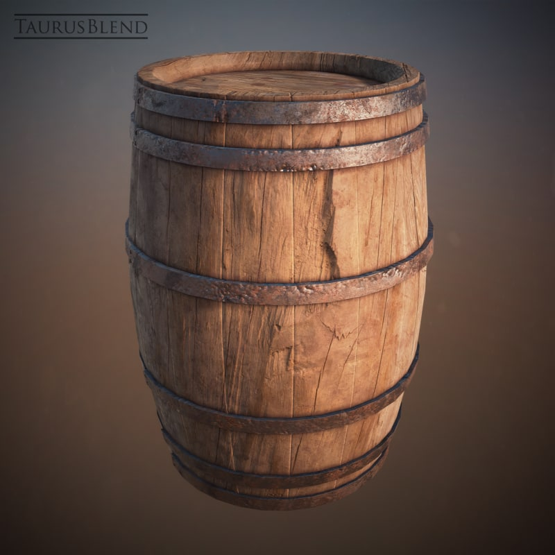3d model old wooden barrel for Case container 974