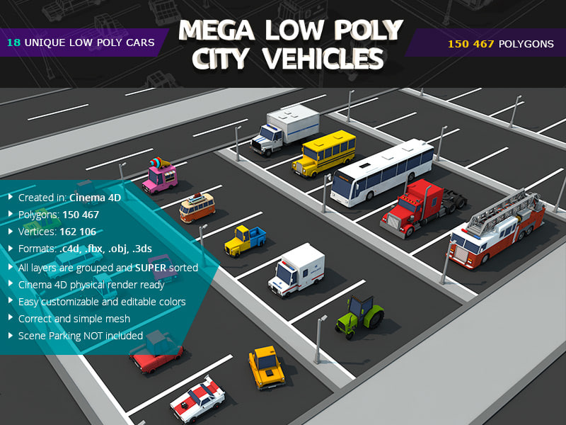 mega city car pack 3d model