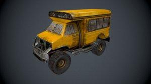 post apocalypse bus 3d obj