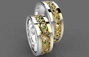 3d ring gold wedding