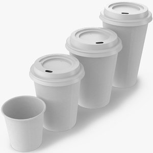 coffee cups takeout 1 3d model
