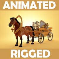 3d horse cart