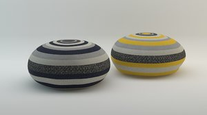 3d rounded pouffs