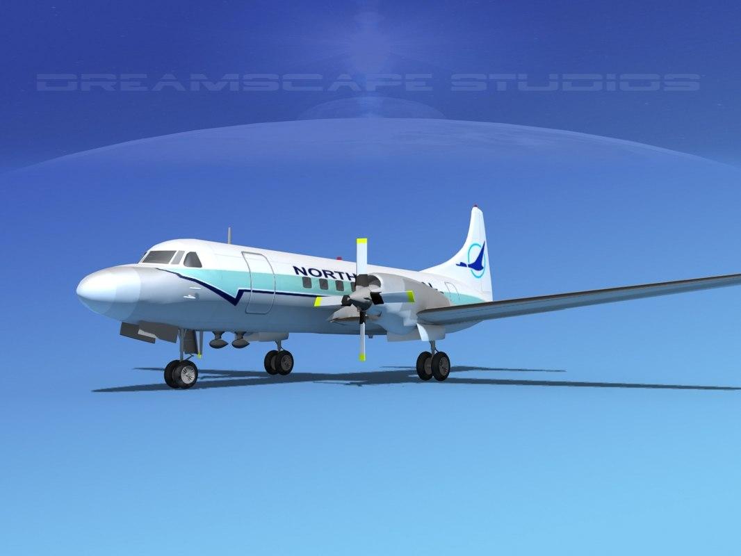 propellers convair cv-580 3d dwg