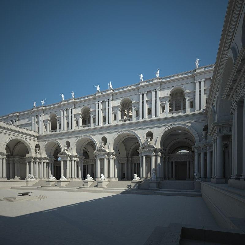 3d model courtyard cloyster