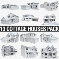 cottage houses 3d 3ds