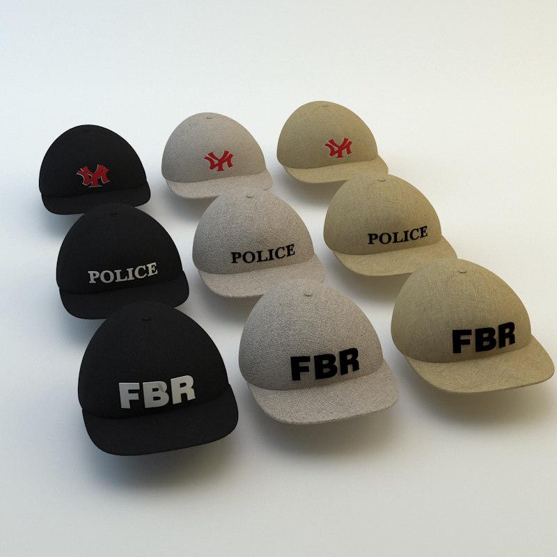 3d max baseball cap set
