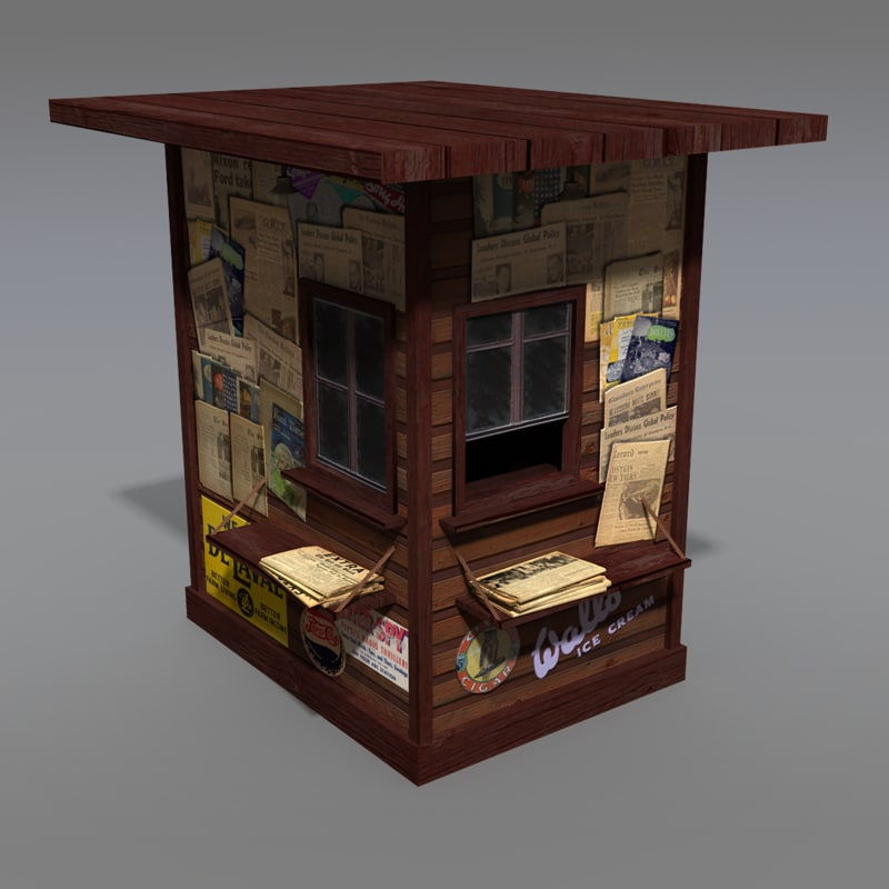 modeled old news stand 3d max