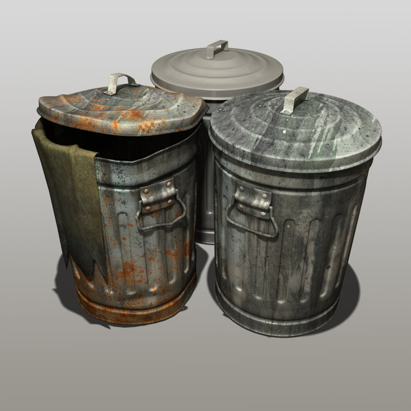 modeled trash cans 3d max