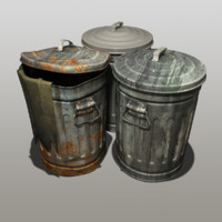 modeled trash cans 3d max