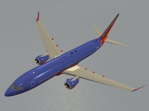 3d model boeing 737-800 southwest airlines