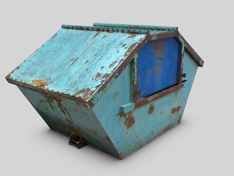 3d model 3 ton construction dumpster