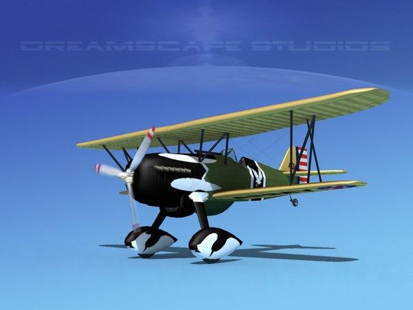 3d curtiss hawk fighter p-6 model