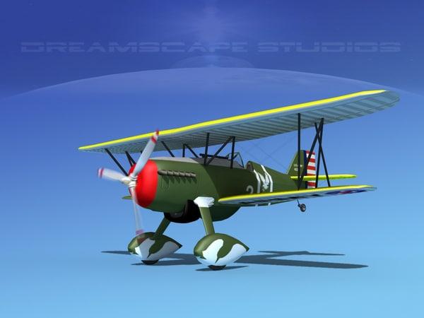 curtiss hawk fighter p-6 3d model