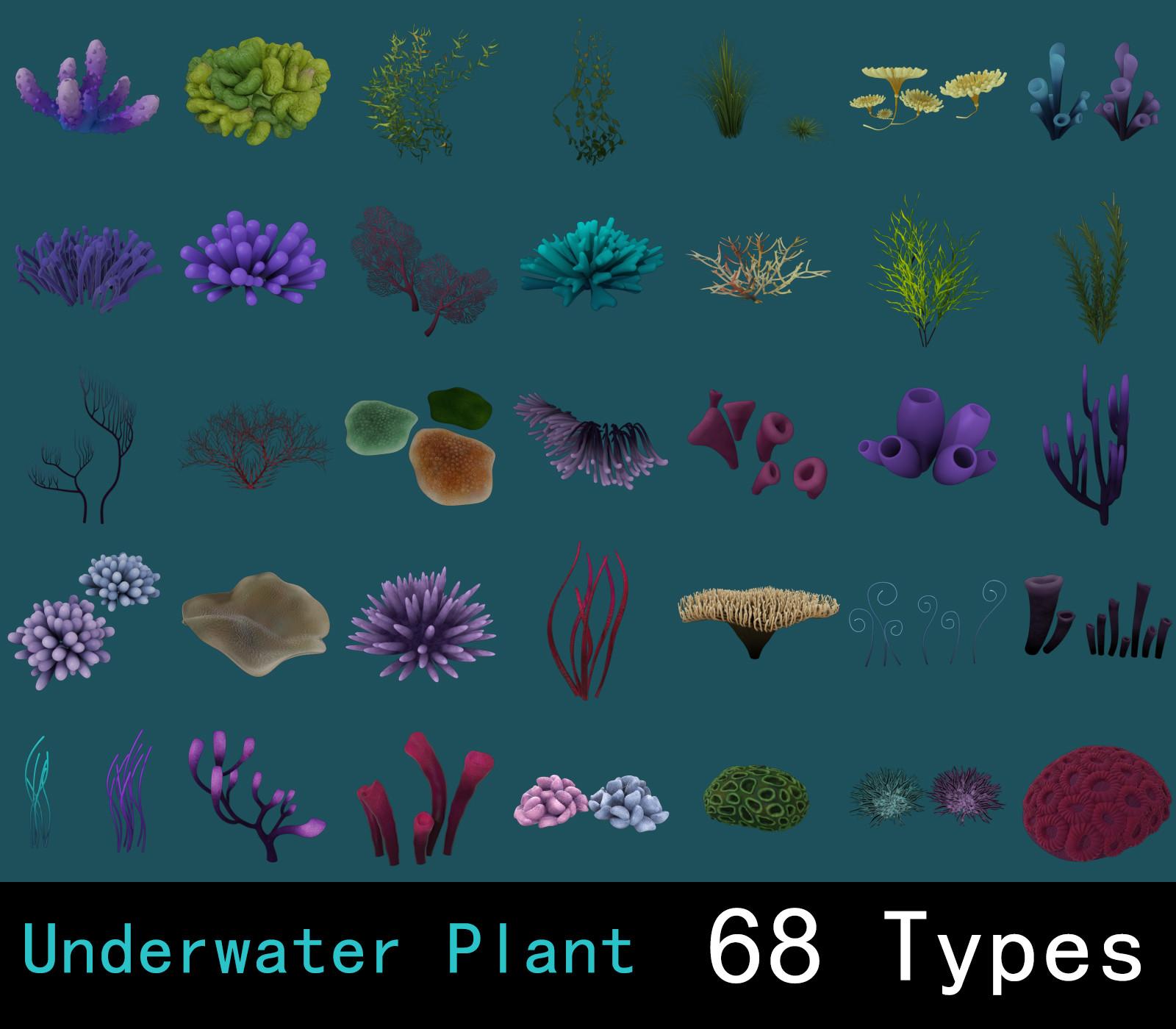 underwater plants pack 3d model