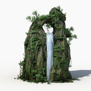 rock stone landscape moss 3d model