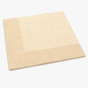 3d model beverage napkin brown