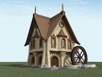 3d model water mill