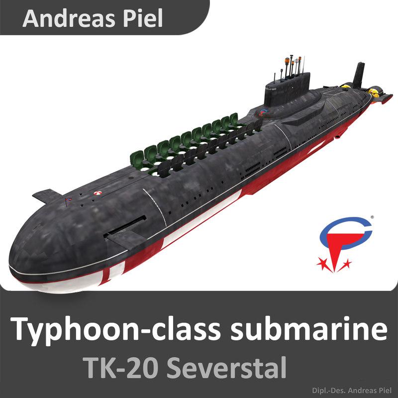 russian submarine severstal typhoon 3d 3ds