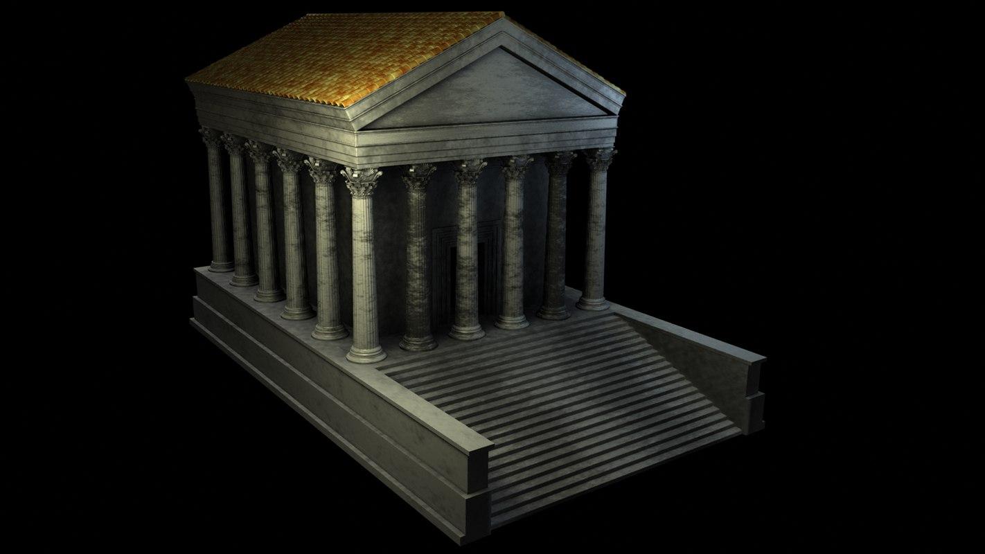 corinthian temple greek 3d obj