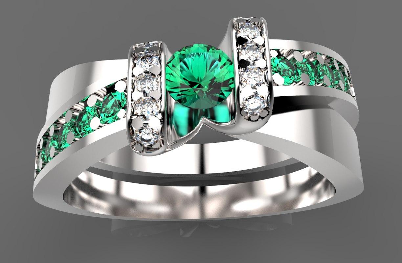 gold ring diamond 3d 3ds
