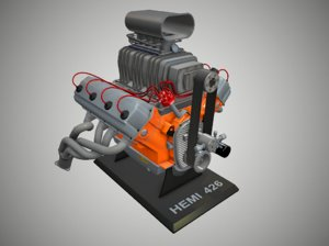 3d blown hemi engine model